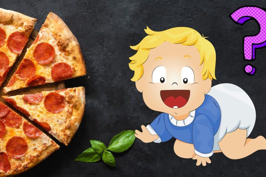 baby crawling toward pizza