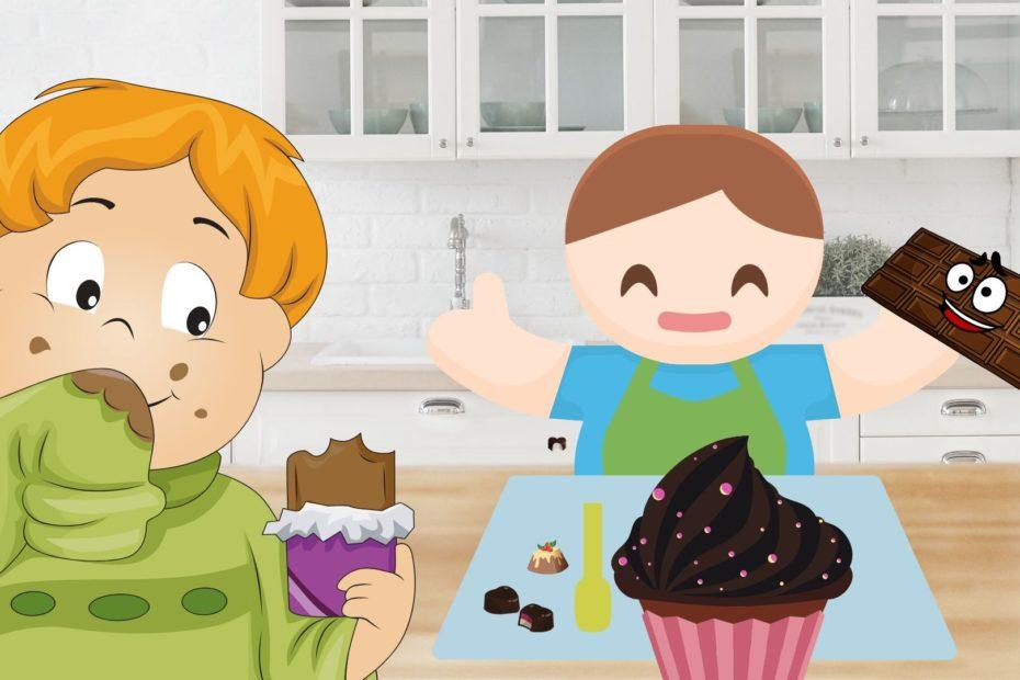 two babies eating chocolate