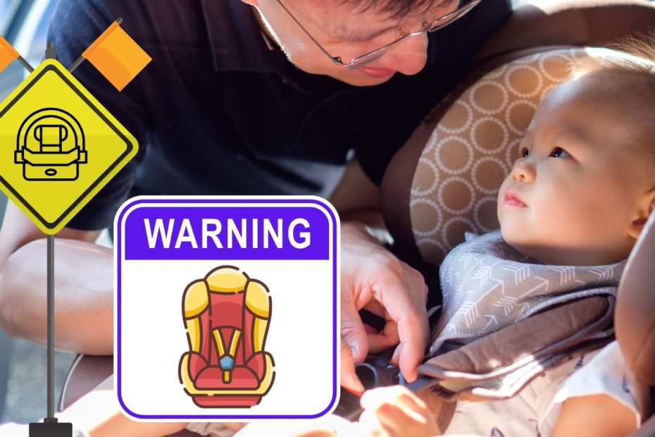 father putting baby in car seat with warning signs