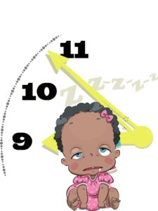 tired zombie baby sitting in front of clock