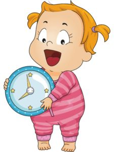 baby girl wearing pink stripes holding clock