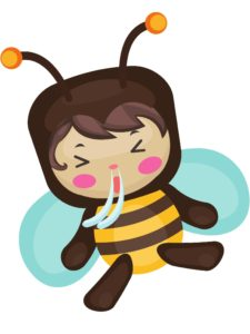 baby in bee costume sneezing