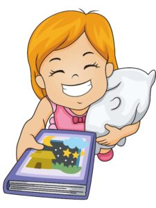 excited girl holding bed time story and pillow
