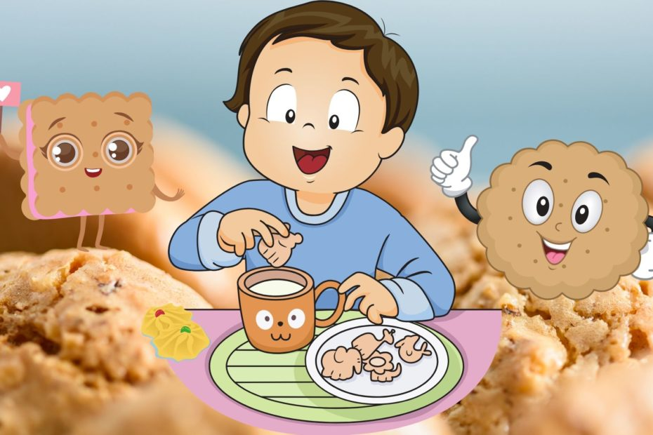 happy cartoon baby eating biscuits