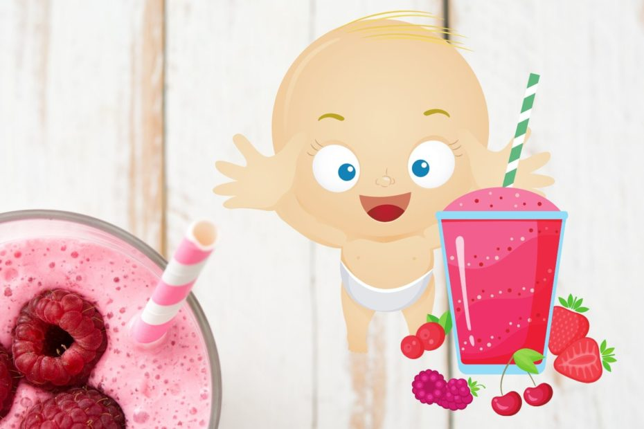 baby reaching for pink berry smoothie