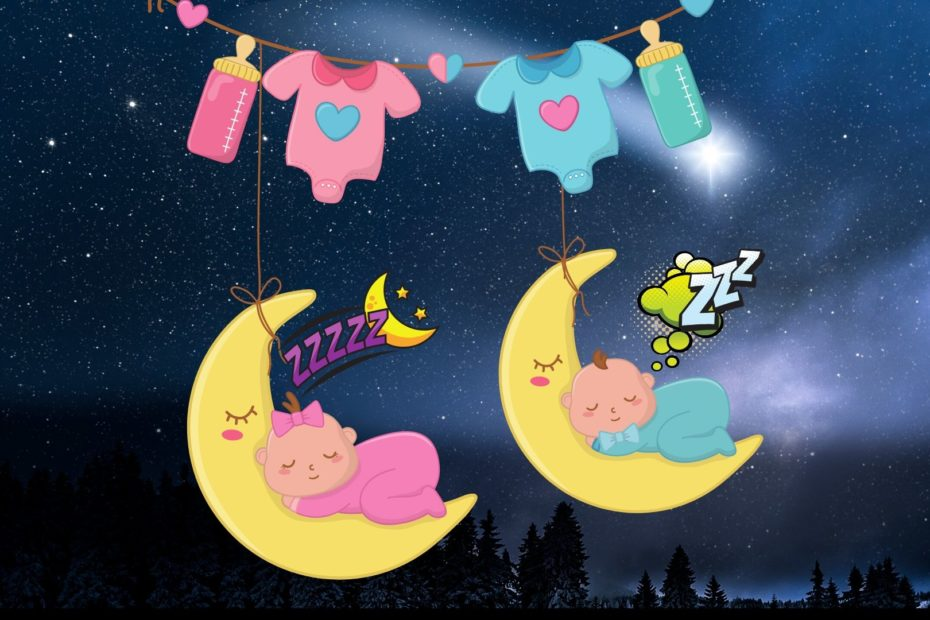 babies sleeping on the moon