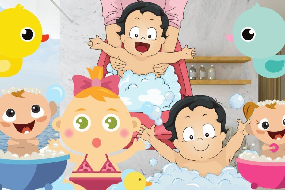 babys taking bath using baby bath
