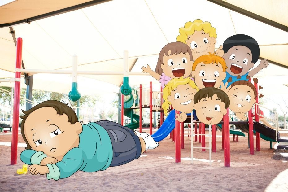 depressed toddler laying on playground