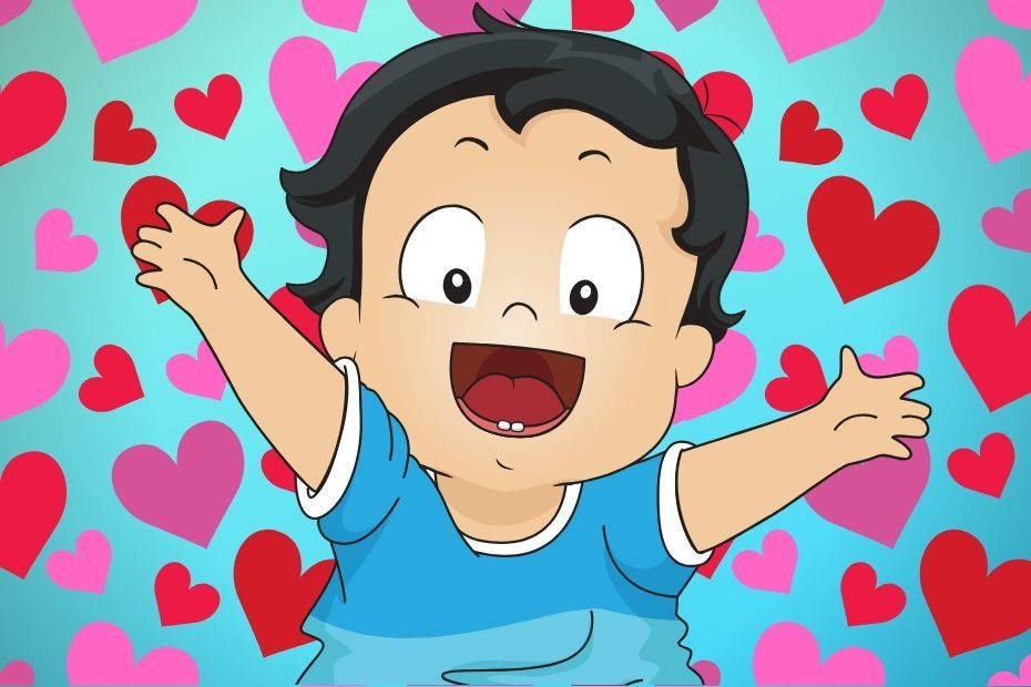 toddler wearing blue with heart background