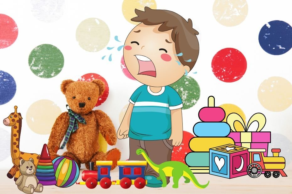 toddler crying in nursery with toys