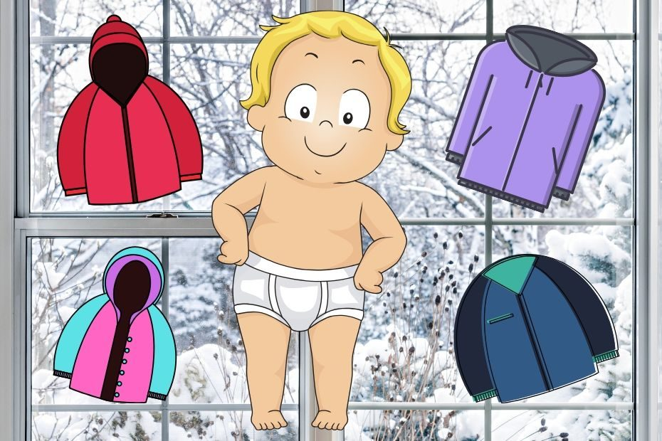 picking out snowsuit for baby