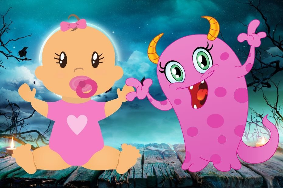 baby girl and pink cartoon monster