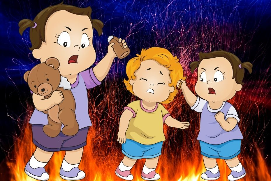 angry toddler pulling hair by fire