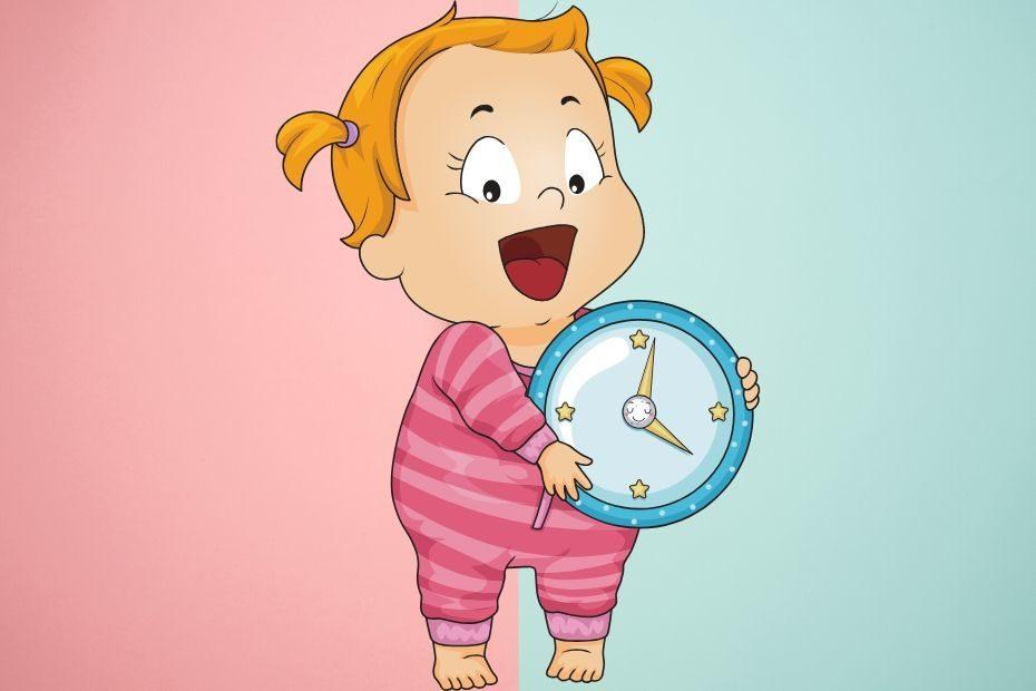 toddler holding clock