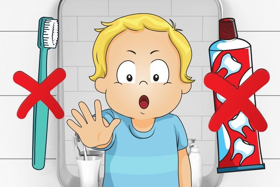 toddler won't brush his teeth