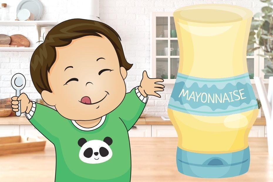 happy baby eating Mayonnaise