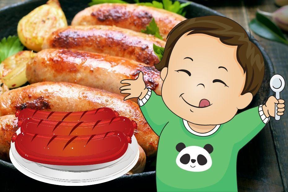 baby eating sausage